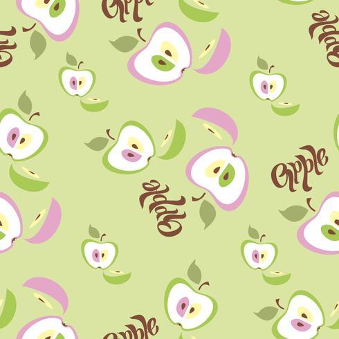 Patrón sin costuras Fondo de manzana Letras. Fruta. Ilustracion vectorial