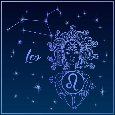 Signo del zodiaco Leo una niña hermosa. La constelación de leo. Cielo nocturno. Horóscopo. Astrología. Vector.