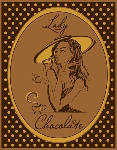 Warme chocolademelk. Het label voor de drank. Retro afbeelding. Elegant meisje in een hoed. Wijnoogst. Frame met polka dots. Vector.