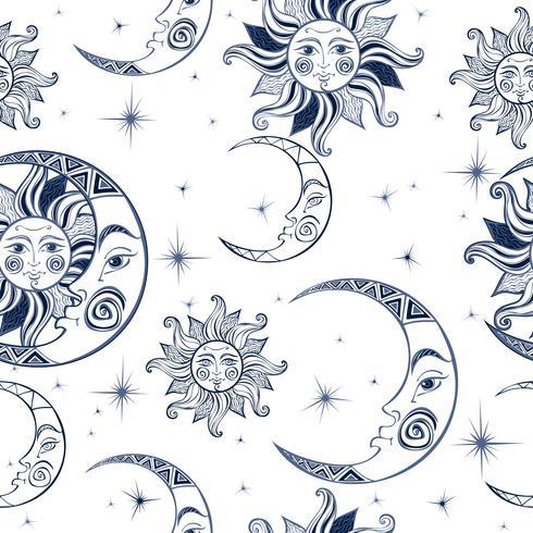 Patrón sin costuras Sol luna y estrellas. Espacio de fondo Cielo nocturno. Un telón de fondo de hada mágica. Vector