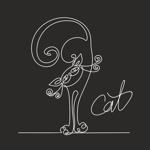 Katze. Kontinuierliches Strichzeichnen. Lustiges Kätzchen. Beschriftung. Schwarzer Hintergrund. Die Wirkung der Kreidetafel. Vektor.