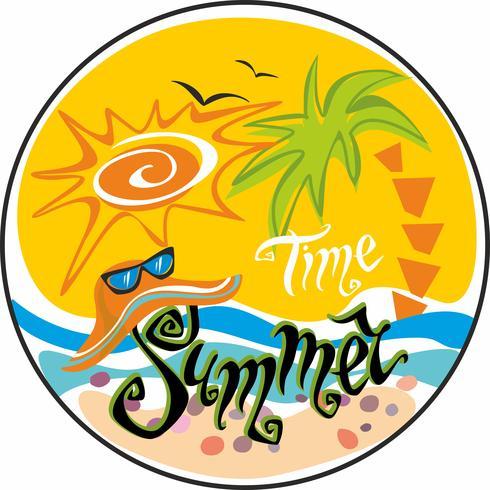 Horário de verão. Lettering Cumprimento. Sol, gaivotas. Chapéu de sol e óculos de sol. Mar e palmeiras. Conceito de design para o turismo. Vetor.