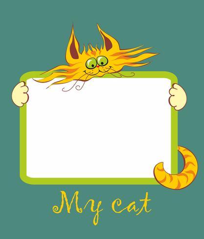 Funda para cuaderno. Cuadro. Mi gato. Inscripción. Gato de dibujos animados rojo alegre. Ilustracion vectorial