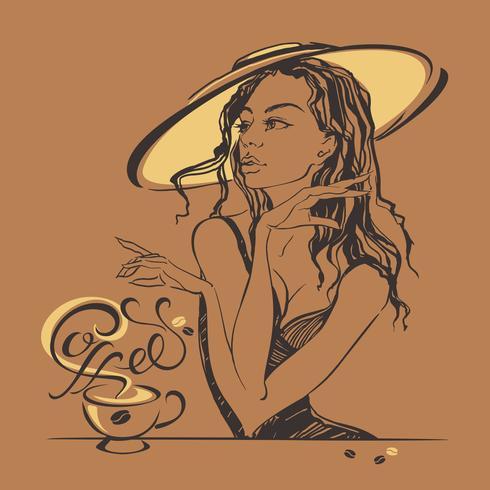 Muchacha hermosa elegante en un café de consumición del sombrero. Descanso. Letras. vector.