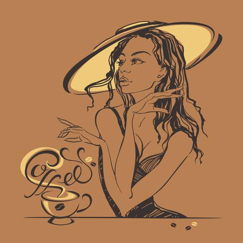 Elegant beautiful girl in a hat drinking coffee. Coffee-break. Lettering. vector.