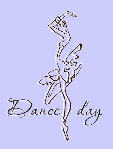 The day of the dance . Greeting card. Dance festival. Ballerina. Logo. Vector. vector