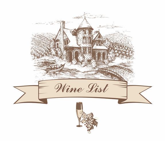 Castello con campi di uva. Schizzo. Striscione sagomato. Lista dei vini. menu. Iscrizione. Illustrazione vettoriale
