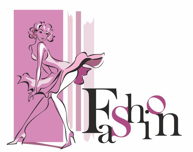 Fashionable girl . Fashion. Inscription. Beauty style. Pink. Vector