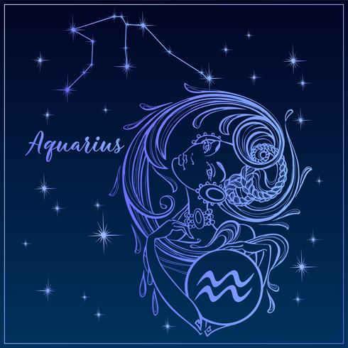 Zodiac sign Aquarius som en vacker tjej. Constellation of Aquarius. Natthimlen. Horoskop. Astrologi. Vektor.