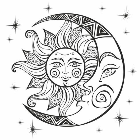 A lua e o sol. Símbolo astrológico antigo. Gravação. Estilo Boho. Étnico. O símbolo do zodíaco. Místico. Coloração. Vetor. vetor