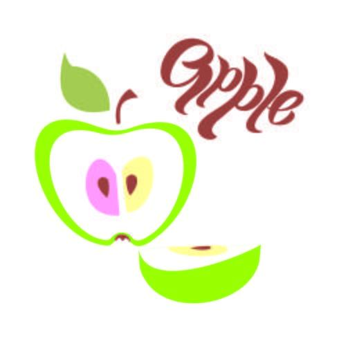 Mela. lettering. Clove.Fruit. Idea di design. Illustrazione vettoriale