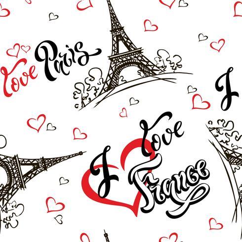 Modèle sans couture. J'aime Paris. J'aime la France. Lettrage élégant. Cœurs. Tour Eiffel. Esquisser. Fond blanc. Victor