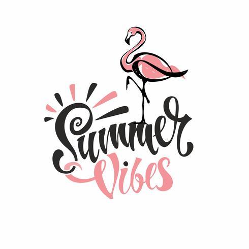 Sommarvibbar. Text. Flamingos är rosa. Inbjudan att lämna. Kort. Kalligrafi. Snygg inspirerande beskrivning. Vektor.