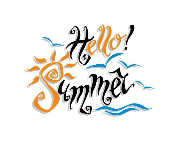 Hallo Sommer . Beschriftung. Gruß. Sonne, Meer, Möwen. Gestaltungskonzept für den Tourismus. Vektor.
