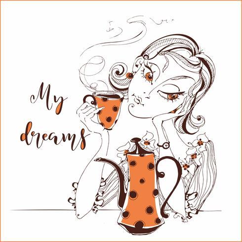 Chica bebiendo té. Sueños de niña de. Mi sueño. Letras. Tetera y taza de naranja. Ilustracion vectorial vector
