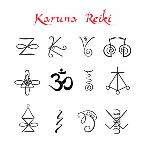 Karuna Reiki. Símbolos Energia de cura. Medicina alternativa. Vetor.