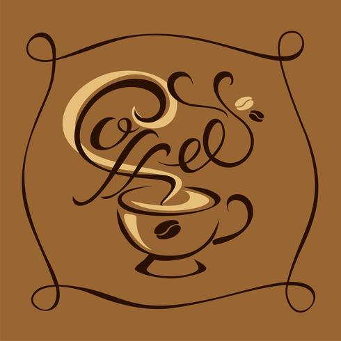 Coffee. Lettering. The logo design . handmade drawing. Vector.
