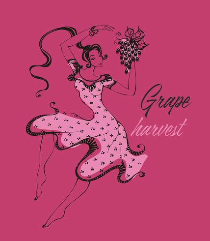 Italian girl dancing, collecting grapes. The time of the grape harvest. Wine industry. Italy. Vector.