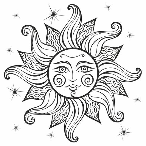 Sol. Vintagestil. Astrologi. Etnisk. Hednisk. Boho Style. Färg. Vektor. vektor