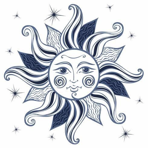 Soleil. Style vintage. Astrologie. Ethnique. Païen. Style Boho. Vecteur.