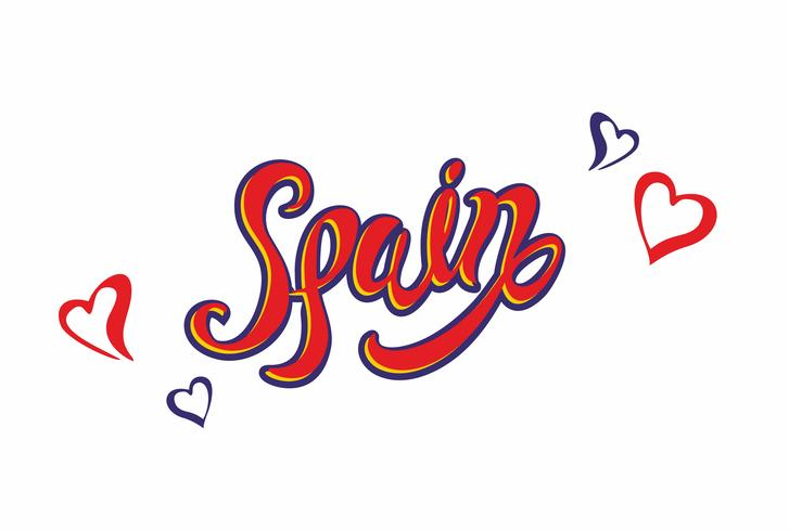 Spain . Lettering.Travel. The design concept for the tourism industry. Vector illustration.