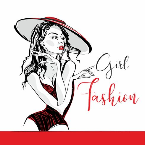 Girl fashion. Lettering. Sketch. Elegant girl in a hat and swimsuit posing. Fashion and beauty industry. Vector. vector