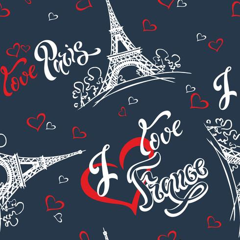 Seamless pattern. I love Paris. I love France. Stylish lettering. Hearts. Eiffel tower. Sketch. Blue background. Victor vector