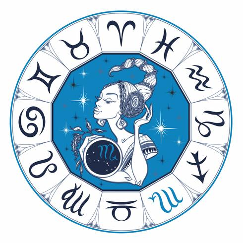 Le signe astrologique Scorpion en belle fille. Horoscope. Astrologie. Vecteur.
