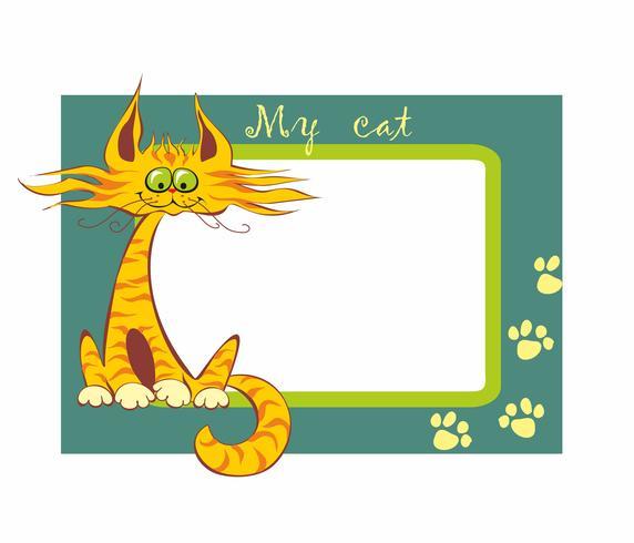 Molduras para fotos Meu gato. Inscrição. Gato vermelho dos desenhos animados engraçados. Ilustração vetorial