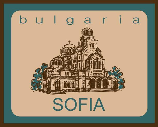 Viajar. Bulgaria. Sofía. Bosquejo. La Catedral de San Alexander Nevsky. Industria del turismo. Vacaciones. Vector. vector