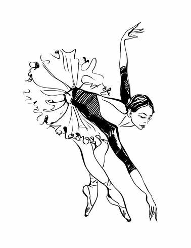 Ballerina. Tjej dansar. Svartvit skiss. Balett. Vektor.