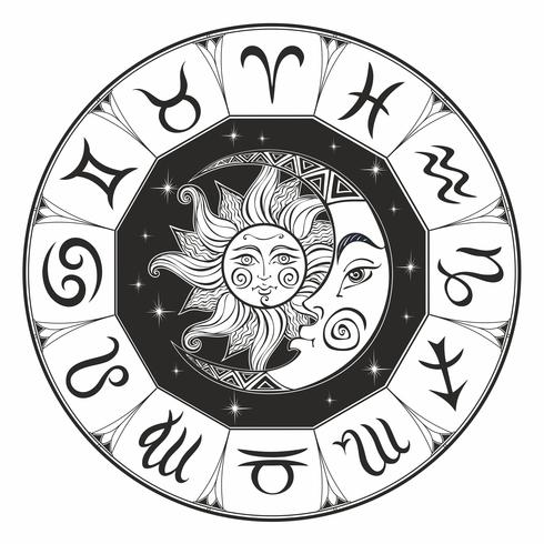Zodiac. Astrological symbol. Horoscope. The sun and the moon. Astrology. Mystical. Coloring. Vector.