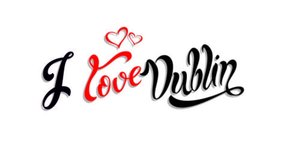 J'aime Dublin Lettrage inspirant. Calligraphie. Écriture à la main. Cœurs. Concept design. Carte d'invitation. Vecteur