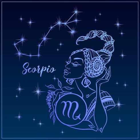 Signo del zodiaco Escorpio como una niña hermosa. La constelación de escorpio. Cielo nocturno. Horóscopo. Astrología. Vector. vector