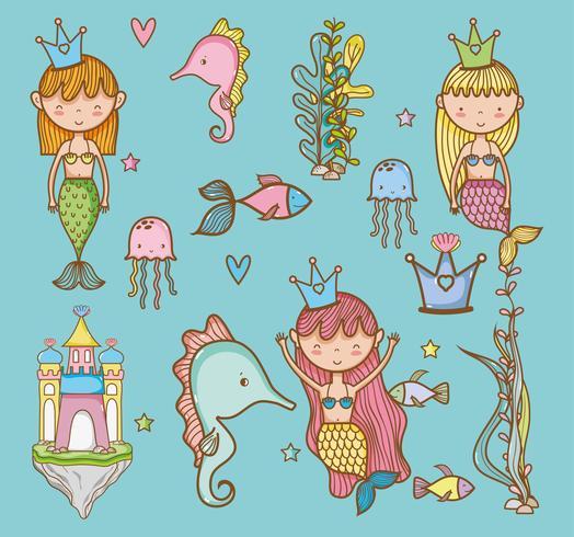 Dibujo animado a mano de animales marinos.