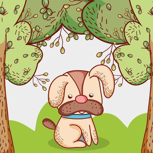 Perro en el parque doodle de dibujos animados