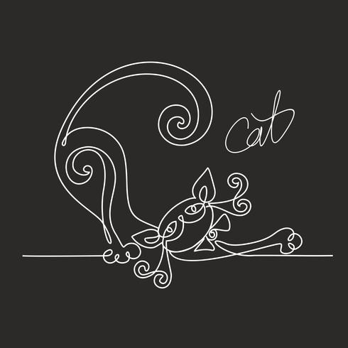 Gato. Dibujo lineal continuo. Gatito gracioso Letras. Fondo negro. El efecto del tablero de tiza. Vector. vector