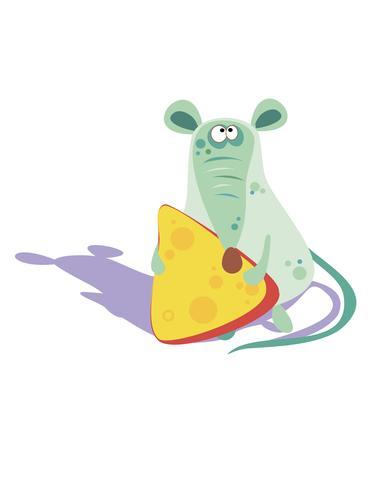 Rato com queijo. Personagem de desenho animado alegre. Ilustração vetorial