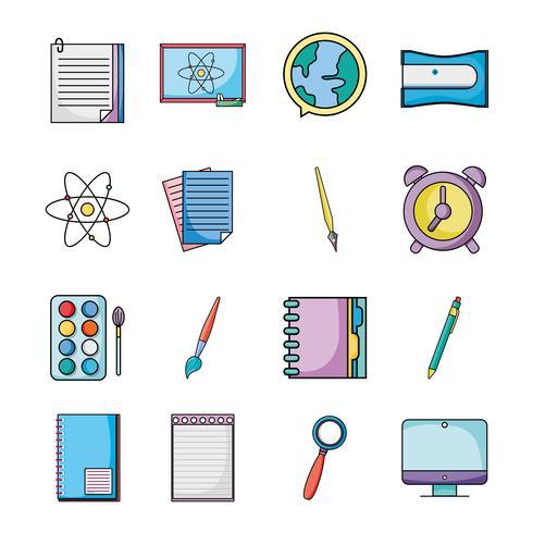 establecer los iconos de los utensilios escolares de educación