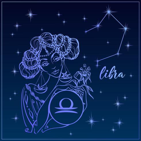 Segno zodiacale Bilancia come una bella ragazza. La costellazione della Bilancia. Cielo notturno. Oroscopo. Astrologia. Vettore.