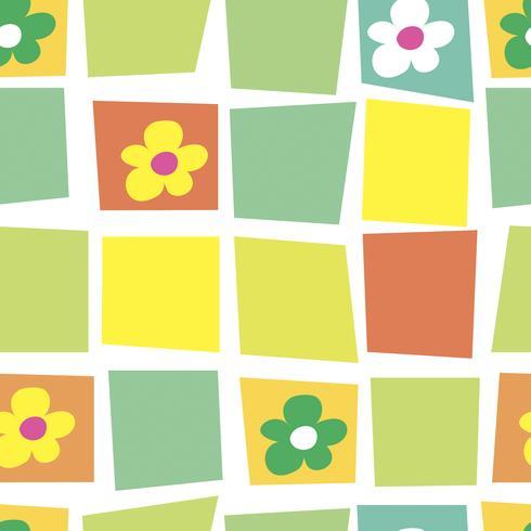 Sömlöst mönster. Mosaik. Blommig. Mjuk tecknadbakgrund. Patchwork. Vektor.