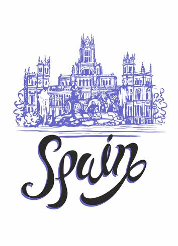 Travel. trip to Spain. City Of Madrid. Sketch. Cybele Palace and fountain at the Plaza Cibeles in Madrid, Spain.. Design concept for the tourism industry. Vector illustration.
