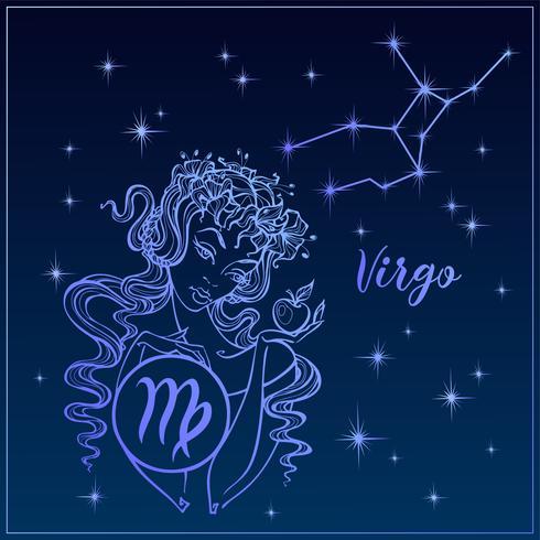 Sterrenbeeld Maagd als een mooi meisje. De constellatie van de Maagd. Nachtelijke hemel. Horoscoop. Astrologie. Vector.
