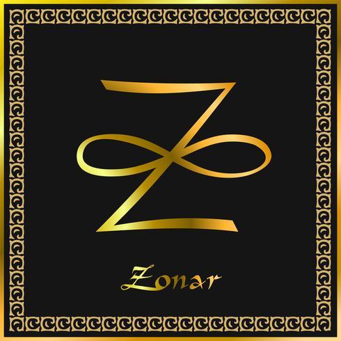 Karuna Reiki. Energihälsa. Alternativ medicin. Zonar Symbol. Andlig övning. Esoterisk. Guld. Vektor