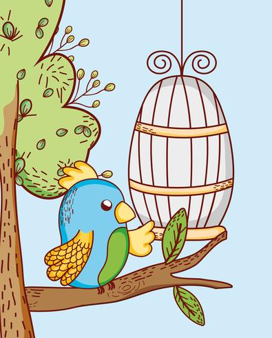 Papegaai uit kooi doodle cartoon