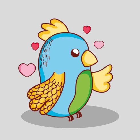 Fumetto adorabile sveglio di scarabocchio del pappagallo