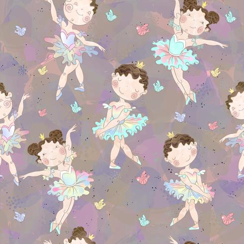 Seamless pattern. Lovely girls ballerinas dancing. Vector