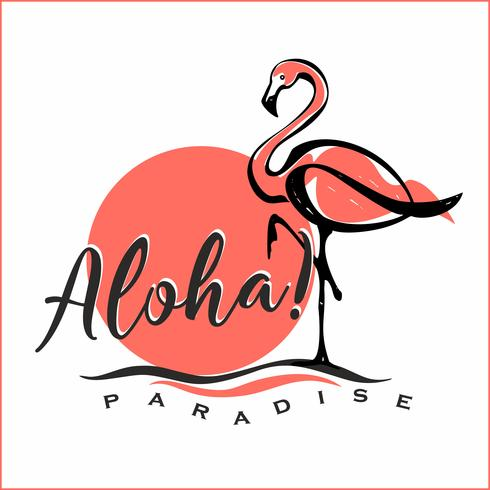 Aloha. Lettering. Flamingo. Sunset. Logo. Welcome card. Tourism industry. Vector.