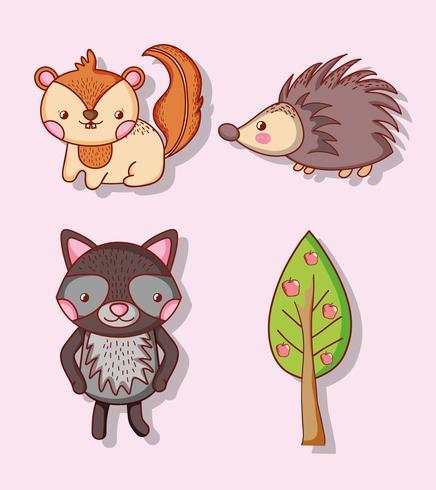 Schattige dieren doodle cartoons