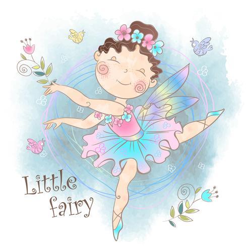 Little cute magic fairy with flowers. Vector